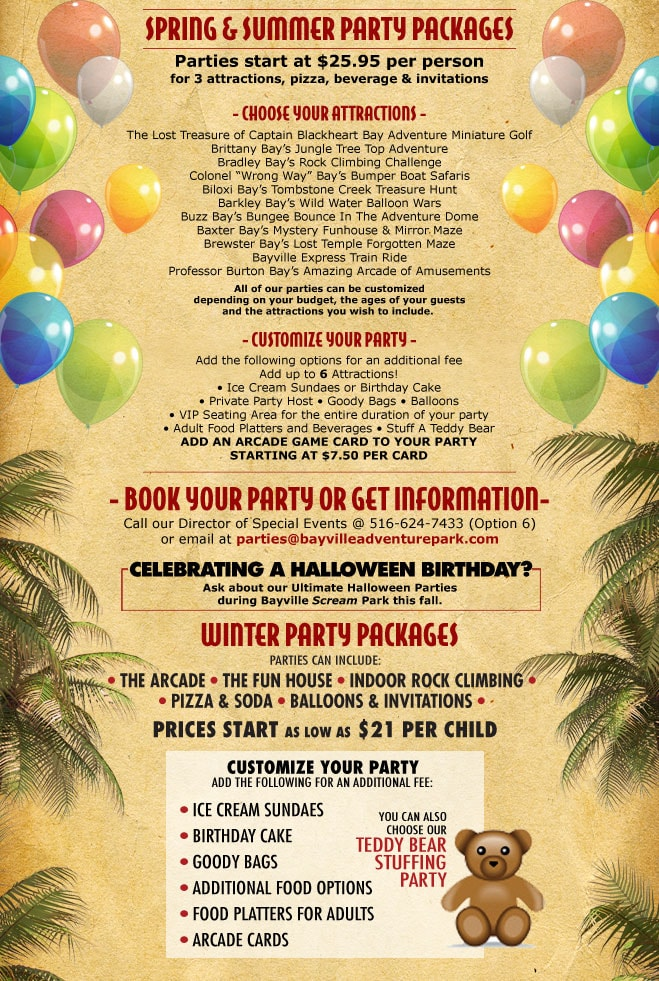 Halloween Party Packages.Bayville Adventure Park Kids Parties